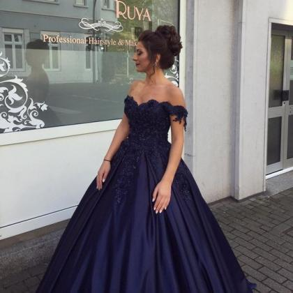 Elegant Navy Blue Ball Gowns Off Sh..