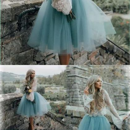 Cheap Tulle and Lace Two Pieces Blu..