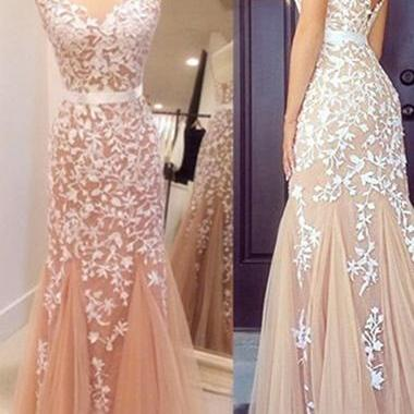 Lace Prom Dress,Sexy Prom Dress,Tul..