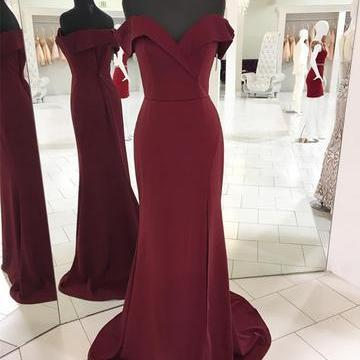 2018 Burgundy Mermaid Prom Dress, S..