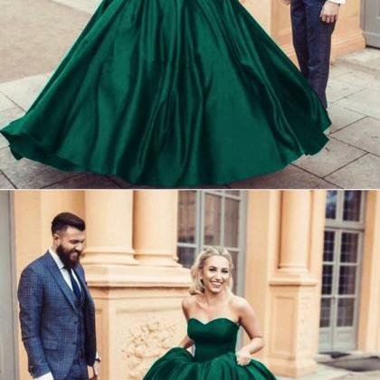 1250fa9fcf3 Emerald Green Ball Gowns Prom Dresses Satin Sweetheart Corset ...