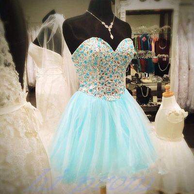 Light Blue Homecoming Dress,Beading..