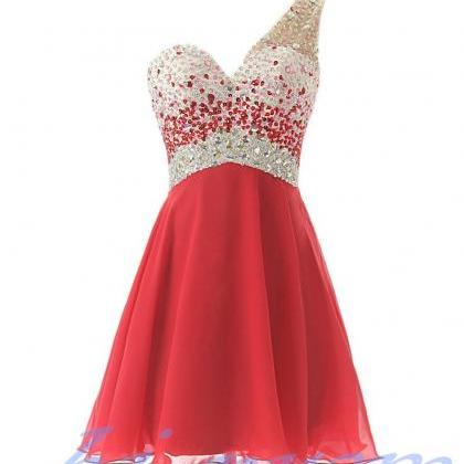 One Shoulder Homecoming Dress,Red H..