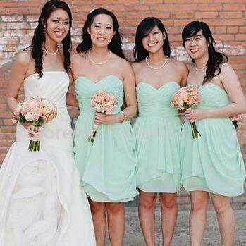 Mint Green Bridesmaid Dresses Knee