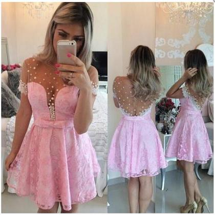 Pink Homecoming Dress,Lace Homecomi..