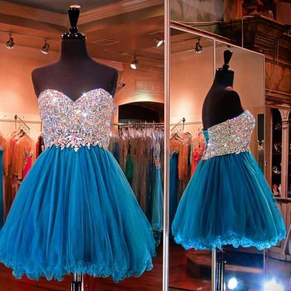 Blue Homecoming Dress,Beading Homec..