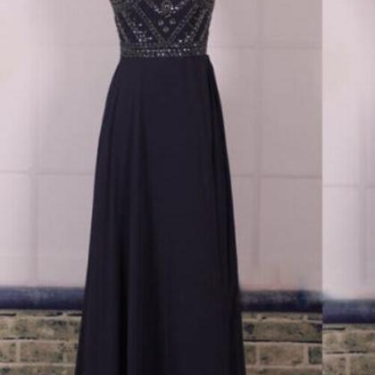 Navy Blue Prom Dresses,Elegant Even..