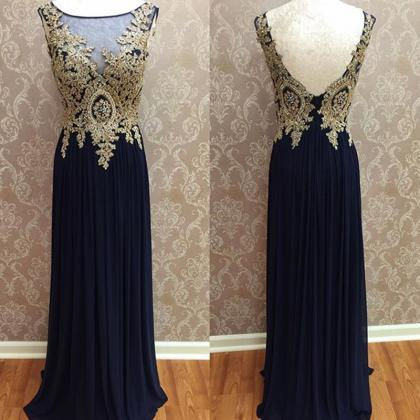 chiffon prom dress,open back prom d..