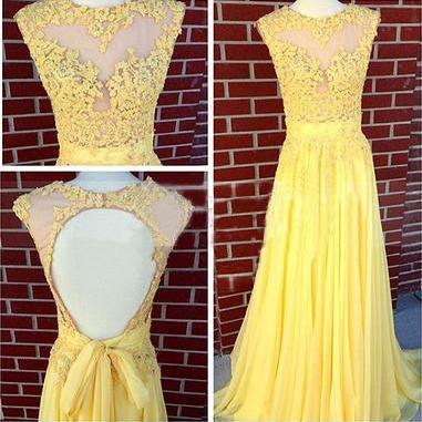 Sexy Evening Gowns,yellow prom dres..