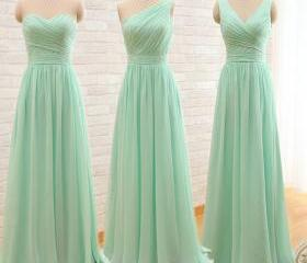 One Shoulder Mint Gr..