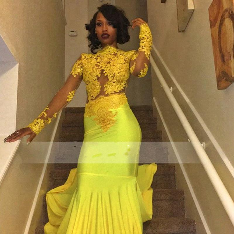 619c9632932 Beautiful High Neck Evening Dress Yellow Long-Sleeve Lace Appliques Mermaid  Prom Dress