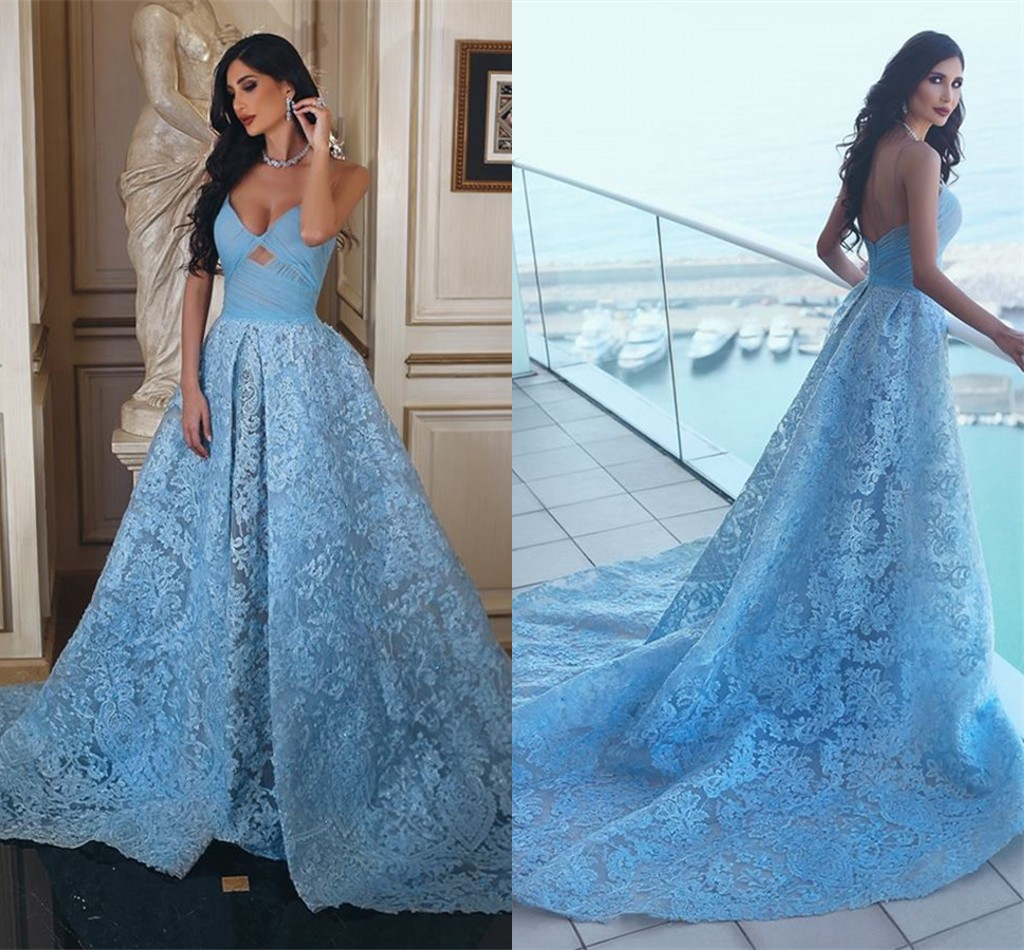 Glamorous Sweetheart Lace Formal Evening Dresses 2018 A-line Ruffles ...