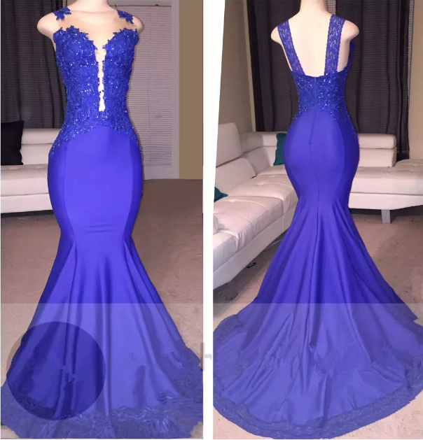 Sleeveless Mermaid Appliques Sexy Court-Train Prom Dress