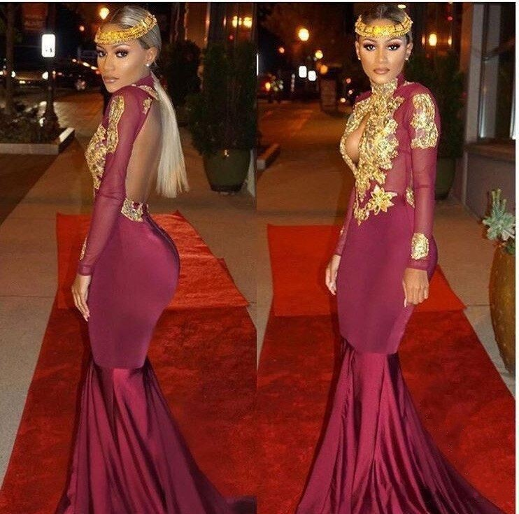 7385381aaa3 Gold Appliques Keyhole Burgundy Open-Back Long-Sleeves Mermaid Prom Dresses