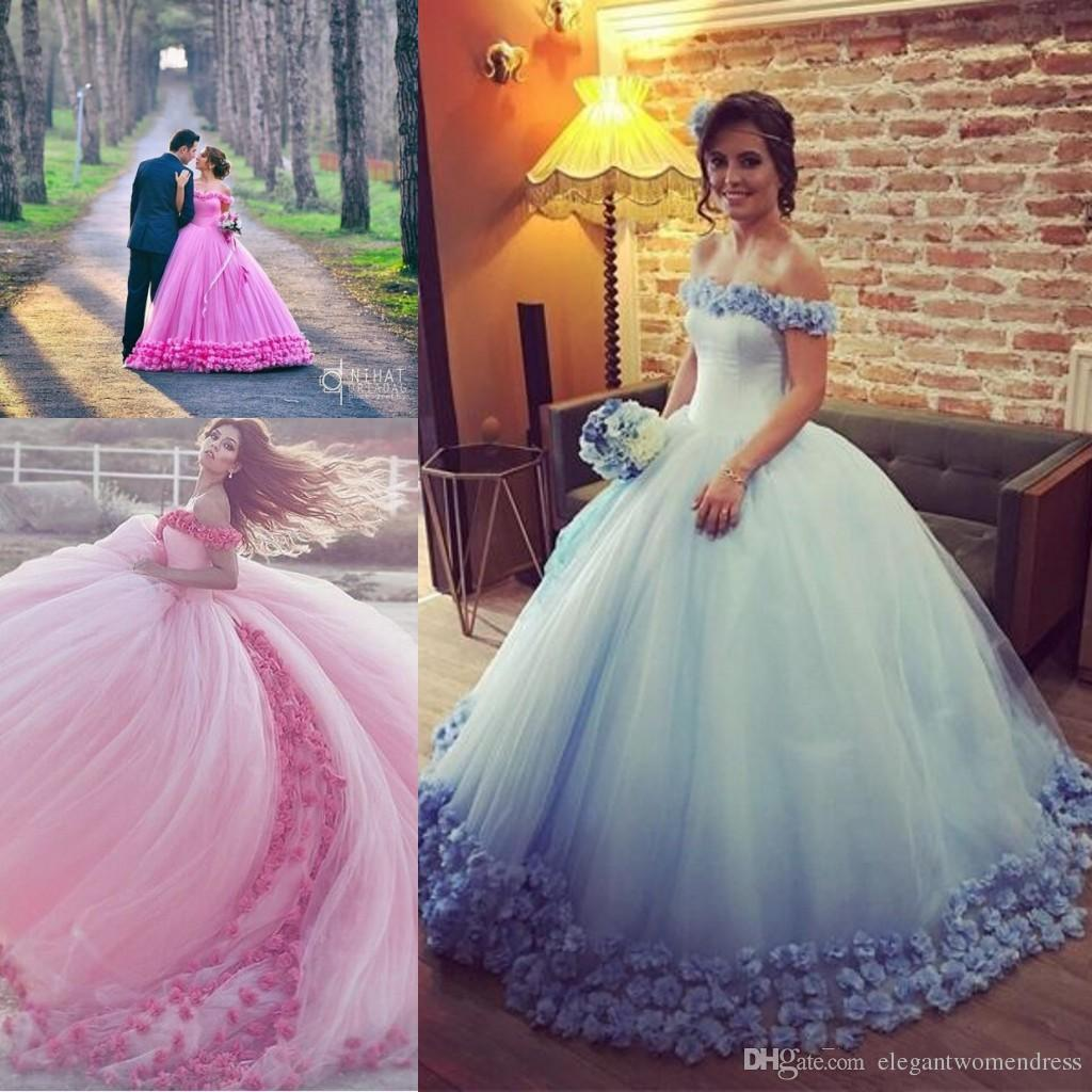 95ee2b270a Long Floor Length ball gown quinceanera dresses Evening Dresses Flowers  Glamorous Pink Prom Dress Light Blue Graduaction Dresses