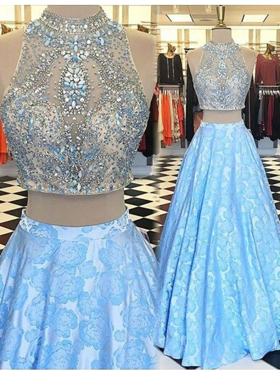 32b368bece854 Sexy Prom Dresses,2 Piece Light Blue Evening Dresses,New Fashion Prom  Gowns,Elegant Prom Dress,Evening Gowns,2 Pieces Evening Gown