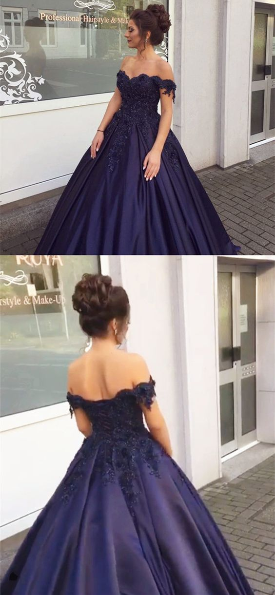 Elegant Navy Blue Ball Gowns Off Shoulder Wedding Dresses Engagement Dresses