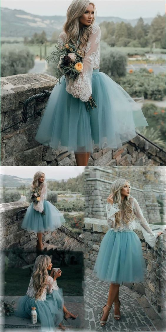 Cheap Tulle and Lace Two Pieces Blue Short Prom dress, Cocktail Homecoming Dress