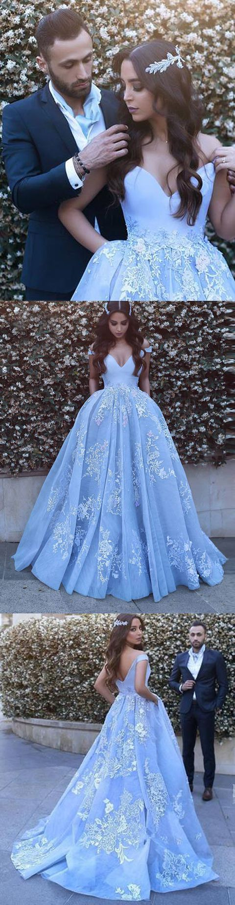 7b8a5576f04726 Light Blue Wedding Dress Princess
