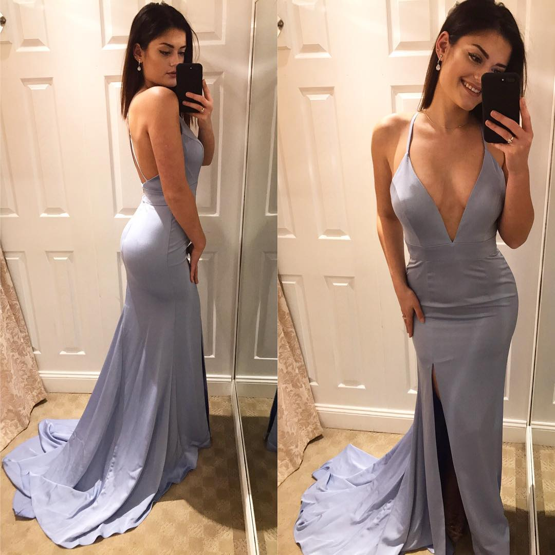 43faaf19aae Satin Prom Dresses Long Mermaid Sexy Party Dresses Deep V Neck Formal Gowns  Front Slit Backless