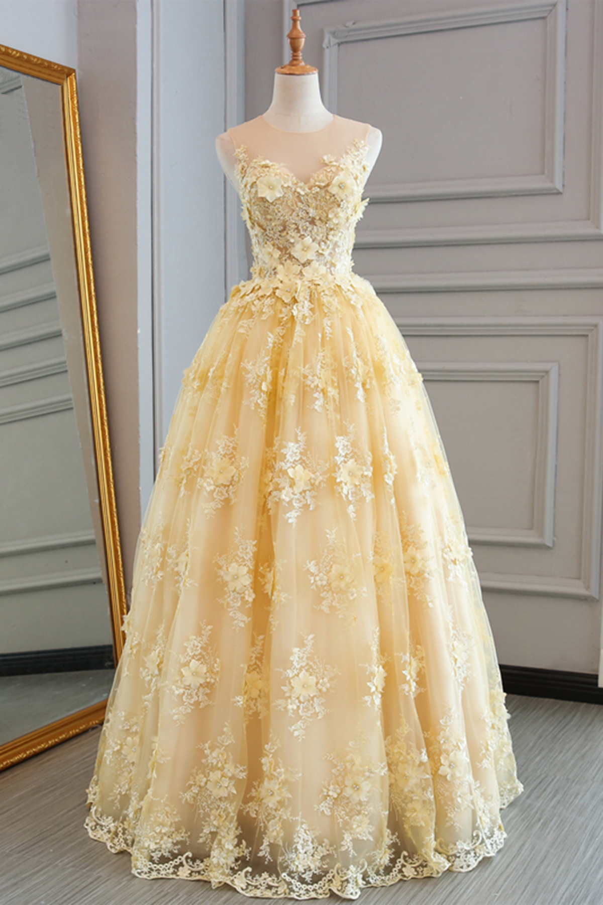 Prom Dresses New Fashion Prom Dresses Spring Yellow Lace