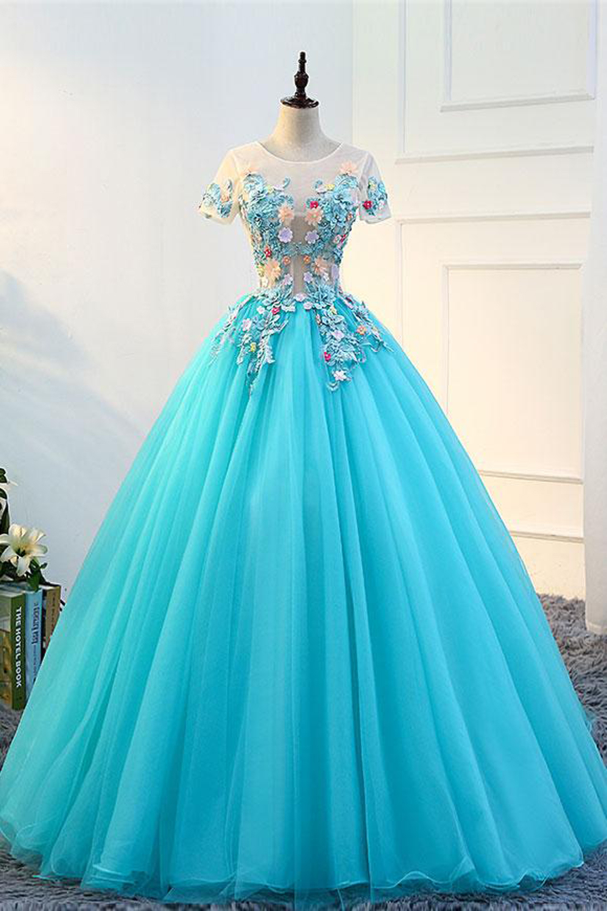 Quinceanera Dress Sweet 16 Dresses Blue Tulle Long Round