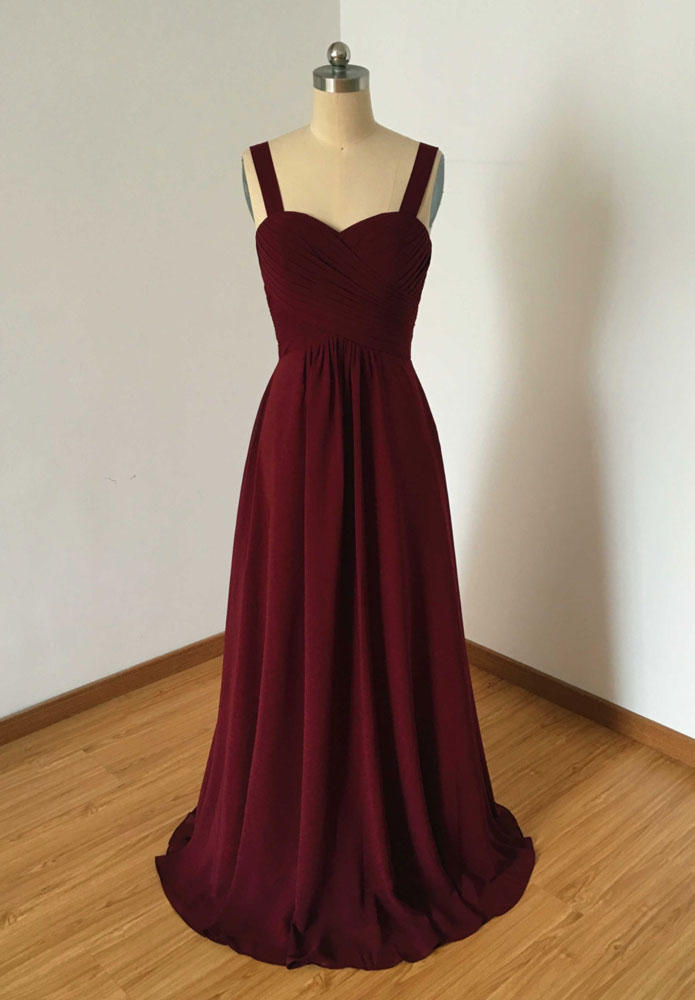 Simple Sweetheart Neck Chiffon Burgundy Long Prom Dress 3cd843771