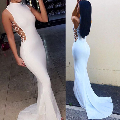 long prom dress, white prom dress, sexy prom dress, mermaid prom dress, high neck prom dress, occasion dress