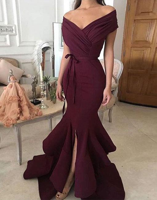 fd4e1ae0734 Simple Off Shoulder Long Prom Dress