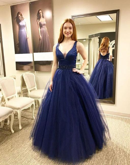 905c386b121 Dark Blue V Neck Tulle Long Prom Dress