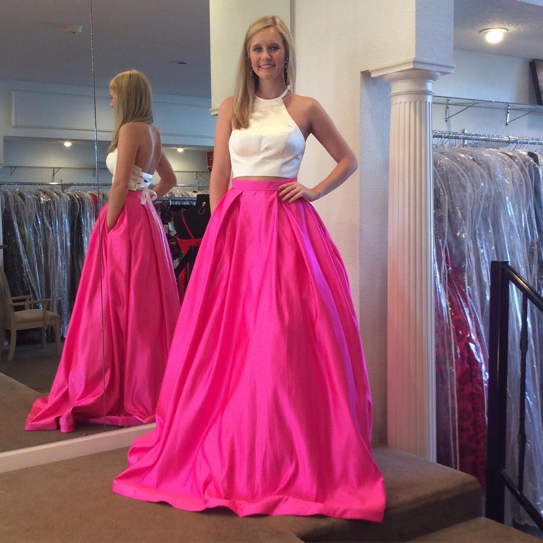 821491c5 Gorgeous Two Piece White and Hot Pink Prom Dress,Prom Dresses,Evening Dress,  Prom Gowns, Formal Women Dress,prom dress P0673