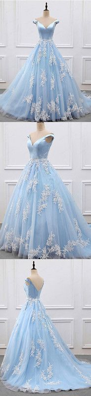 Off-the-shoulder Prom Dress Floor-length Appliques Tulle Prom Dress/Evening Dress P0759