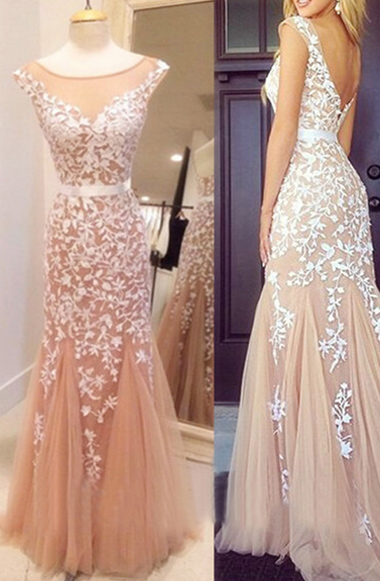 Lace Prom Dress,Sexy Prom Dress,Tulle Prom Dress,Champagne Evening Dress, Long Prom Dresses,Mermaid Prom Dress For Women P0858