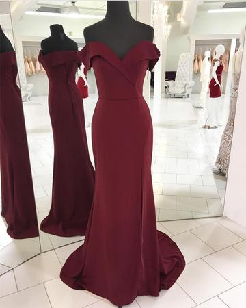 2018 Burgundy Mermaid Prom Dress, Sexy Prom Dresses, Long Evening Dress P1456