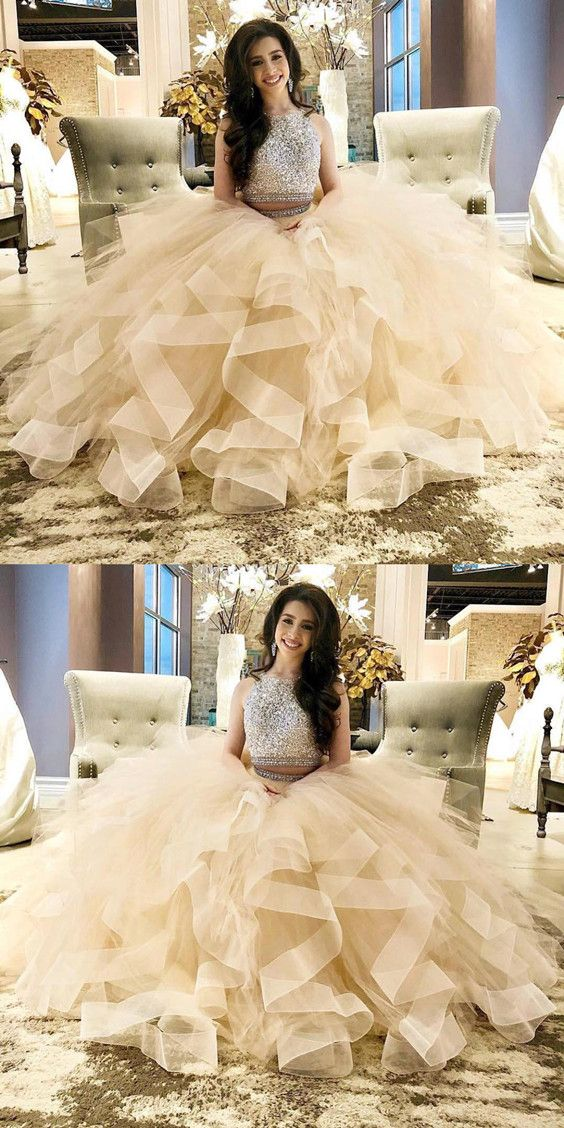 68c86265763 Exquisite Sequin Beaded Two Piece Prom Dresses Champagne Ball gowns  Quinceanera dress organza ruffles P1924
