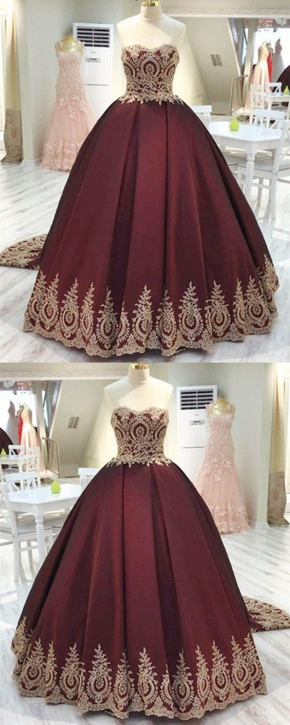 496a717d425 Vintage Gold Lace Appliques Sweetheart Burgundy Satin Quinceanera Dresses  Ball Gowns Wedding Dresses P1936
