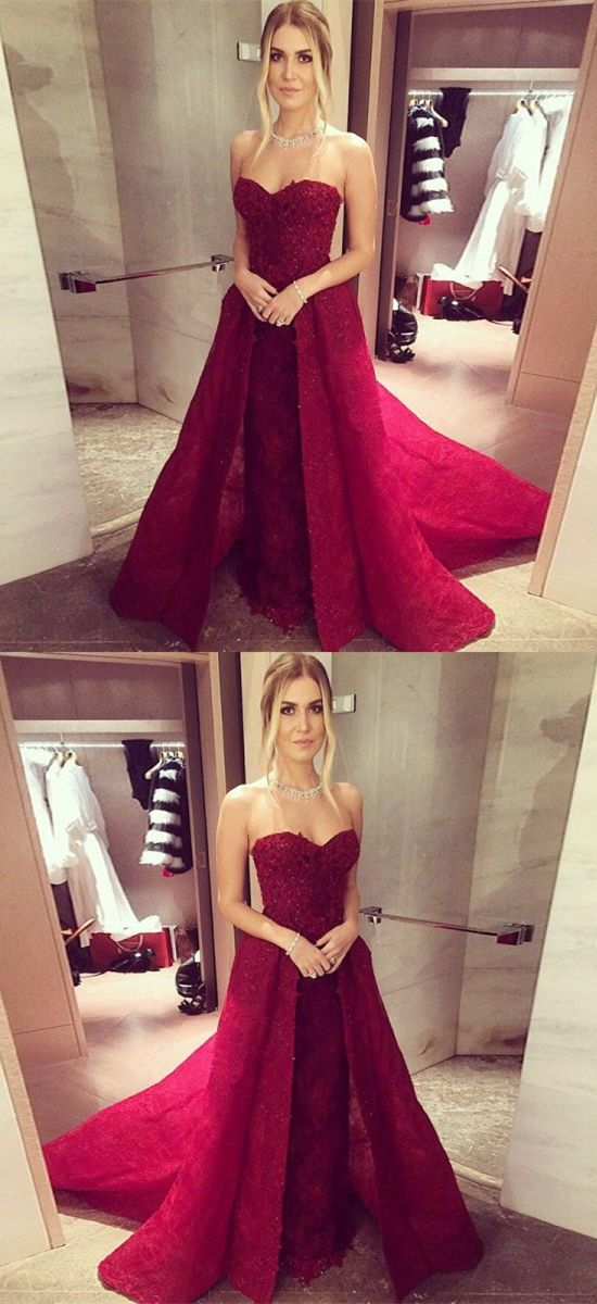 30667d7fc07 A-Line Sweetheart Sleeveless Sweep Train Red Lace Prom Dress with Beading