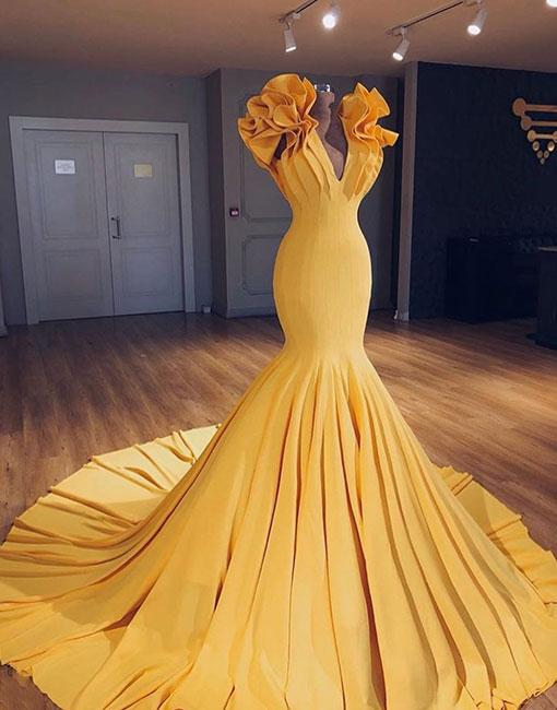 Unique Yellow V Neck Long Prom Gown Evening Dress