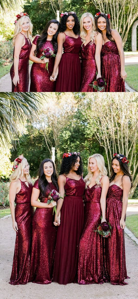 be6c1e0be0 Mismatched Burgundy Bridesmaid Dresses