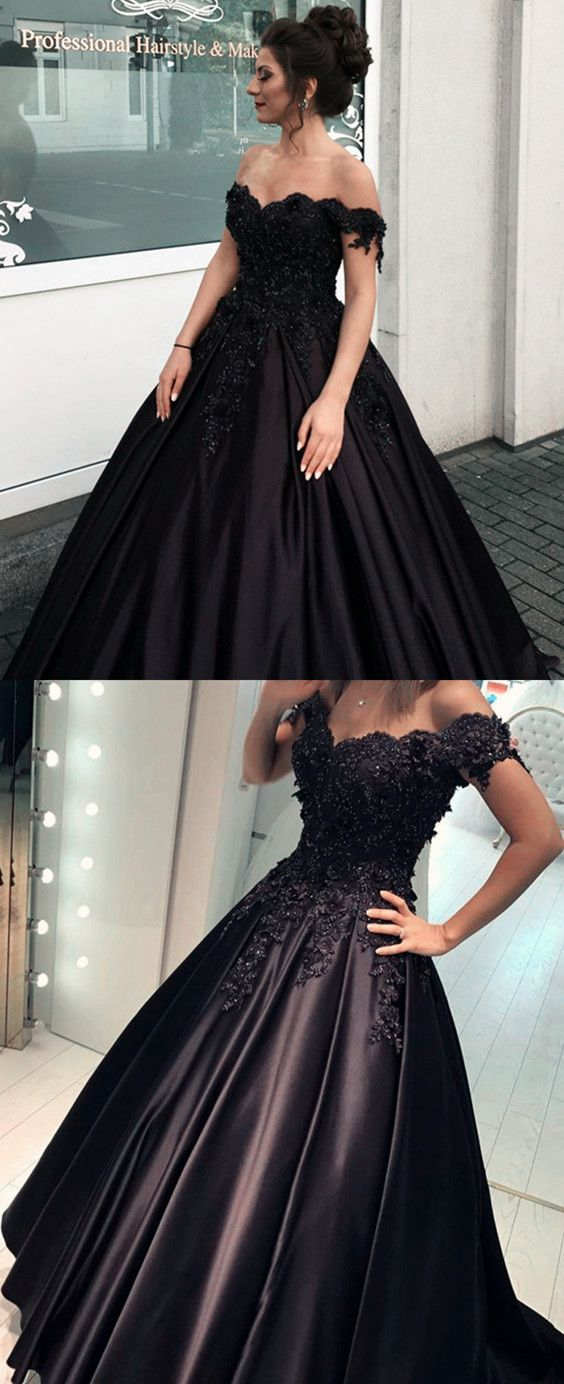 Black Satin Ball Gown Quinceanera Dresses Lace V Neck Off The