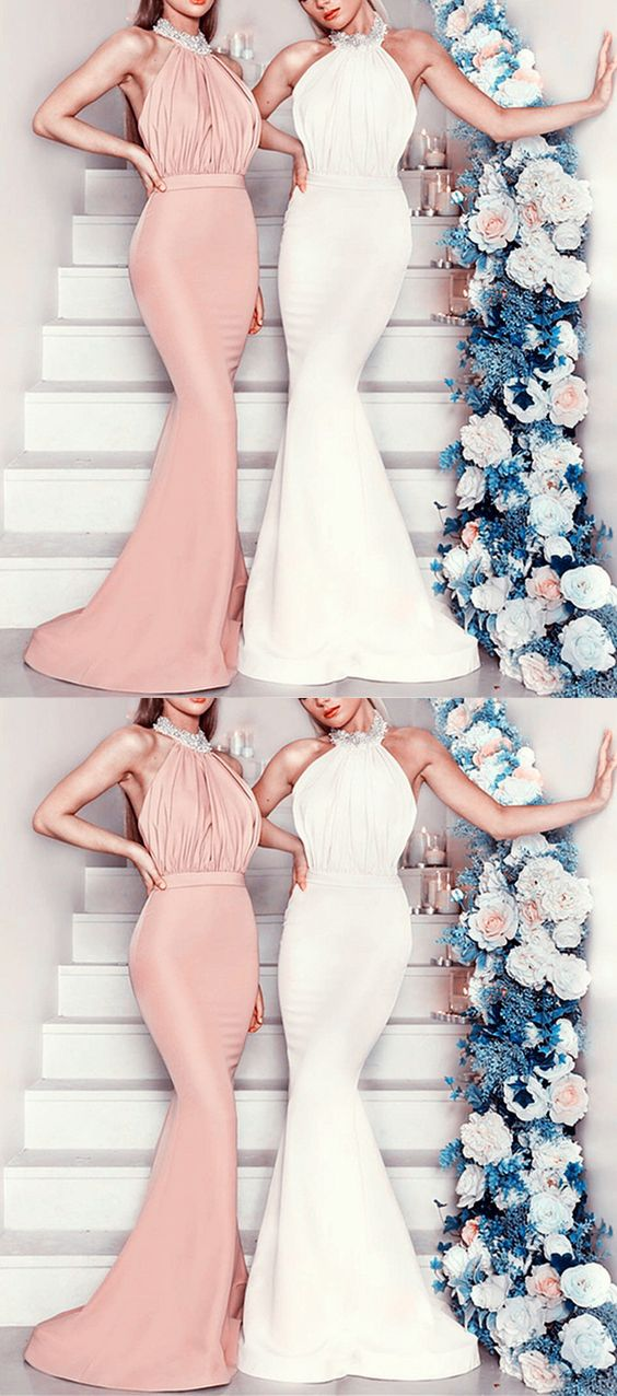 9052a0c1bb4 Beaded Halter Long Jersey Backless Mermaid Bridesmaid Dresses on Luulla