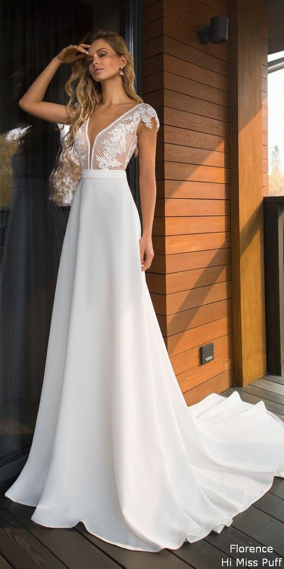 A Line Halter Sleeveless Chiffon Long Beach Wedding Dress With Lace