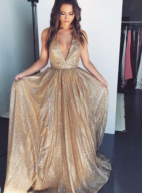 bf62b2e8 Gold V Neck Sequins Long Prom Dress, Evening Dress on Luulla