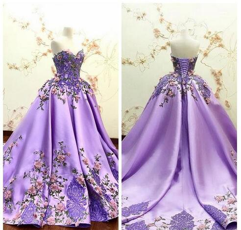 Beautiful Sweetheart 3D Flowers Adorned Prom Dresses Embroidery Satin Lace Appliques Bandage Formal Special Occasion Evening Party Gowns