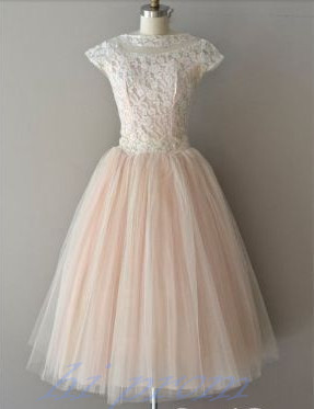 Blush Pink Wedding Dressesknee Length Wedding Gownlace Wedding Gownsball Gown Bridal Dress With Cap Sleeves For Formal Weddings
