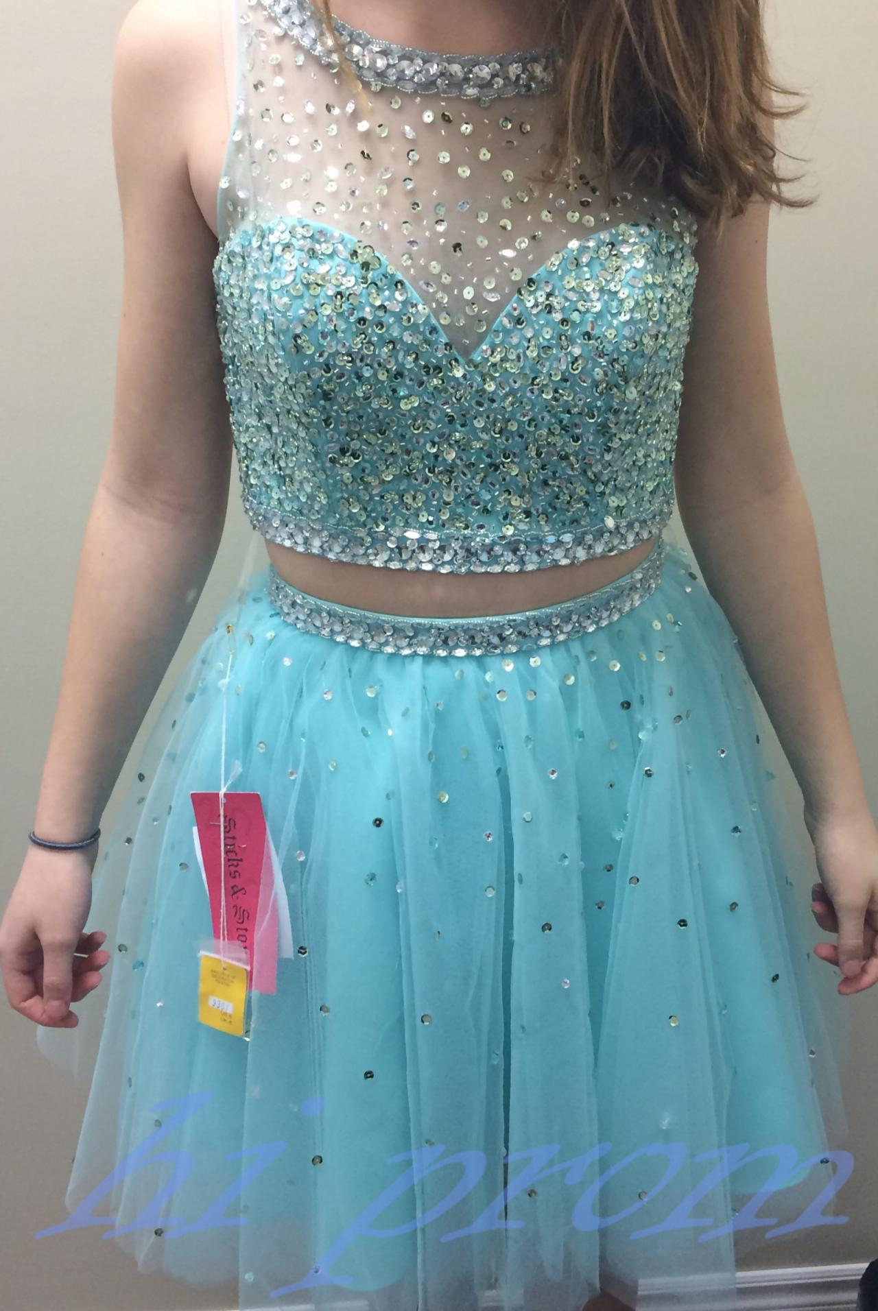 Light Sky Blue Homecoming Dress,2 Piece Homecoming Dresses,Silver ...