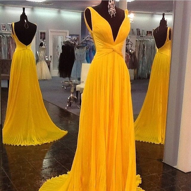 Yellow Prom Dressesbackless Prom Gownopen Back Evening Dress