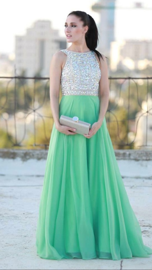 06830da41203 Mint Prom Dresses,A-Line Prom Dress,Beading Prom Dress,O-Neck Prom Dress,  Chiffon Prom Dress,Beading Evening Gowns,2016 New Gowns For Teens