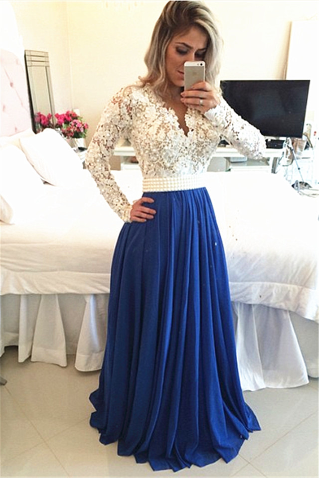 e274870459ea Lace Prom Dresses,Princess Prom Dress,Modest Prom Gown,Royal Blue Prom Gown,Elegant  Evening Dress,Chiffon Evening Gowns,Long Sleeves Party Gowns