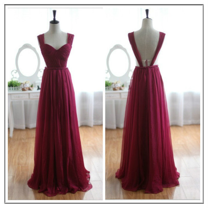 Burgundy Bridesmaid Gown,Pretty Prom Dresses,Chiffon Prom Gown,Backless Bridesmaid Dress,Open Back Bridesmaid Dresses,Wine Red Bridesmaid Gowns